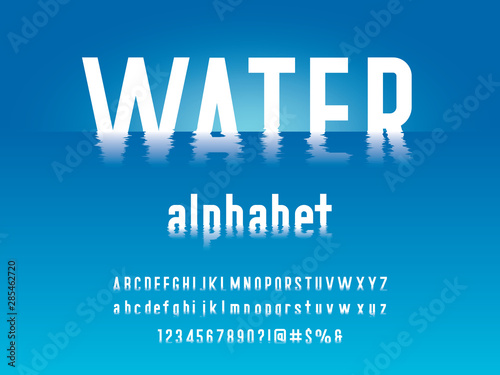 Obraz na plátně water ripple style alphabet design with uppercase, lowercase, numbers and symbol