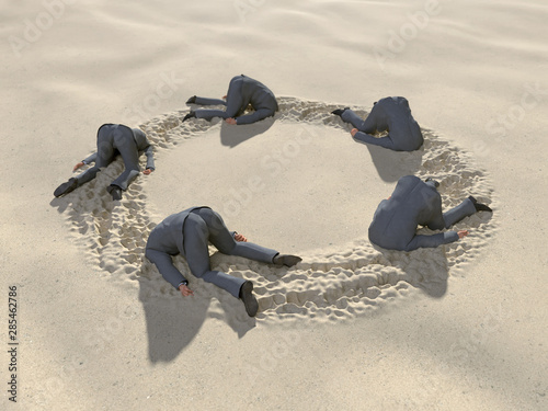Canvas Print group of businessmen hides their heads in the sand