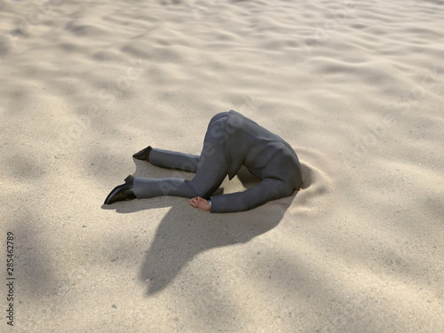 businessman hiding his head in the sand Wallpaper Mural