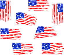 8 Distressed American Flag Set Eps, Clip Art