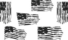 Distressed American Flag Set Eps Clip Art, Set. Only Commercial Use