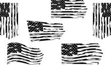 Distressed American Flag Set Eps Clip Art, Set