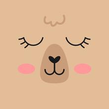 Llama, Alpaca Face Vector Illu...