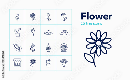 Obraz Flower icons. Set of line icons on white background. Flower shop, houseplant, flower basket. Floriculture concept. Vector can be used for topics like plants, botany, gardening - fototapety do salonu