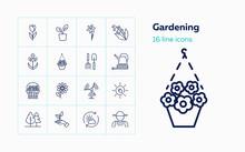 Gardening Icons. Set Of Line I...