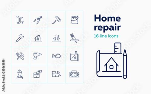 Fotografija Home repair line icon set