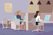 Employees in office flat vector illustration