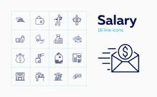 Salary Icons. Set Of Line Icon...