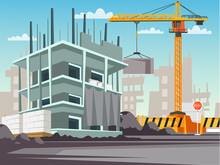 Construction Site Flat Vector ...