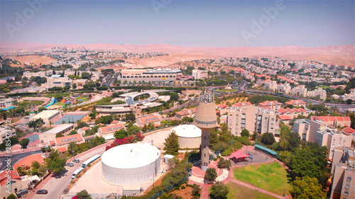 Foto auf Leinwand Rosa hell Maale Adumim City Aerial View Drone Footage over Israeli City Maale Adumim