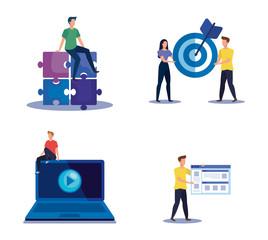 Obraz na płótnie Canvas set of teamwork strategy with office icons information
