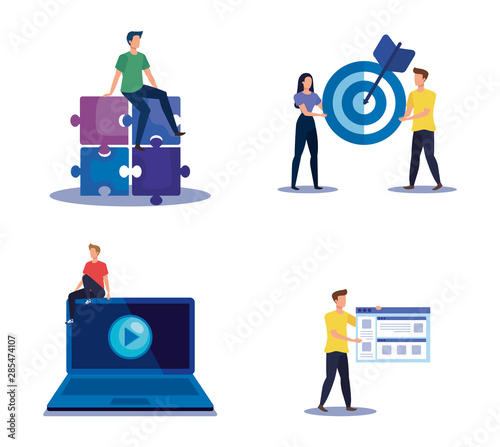 set of teamwork strategy with office icons information