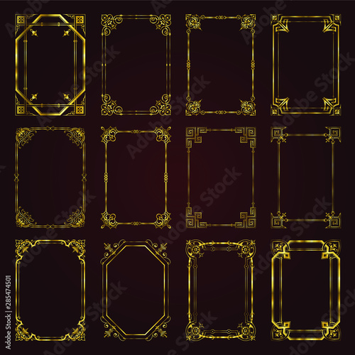 Fotografie, Obraz  Golden calligraphic decorative frames in vintage style - vector set