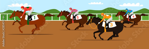 Horse racing competition flat vector illustration Fototapete