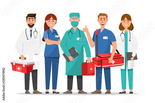 Fotomural  Set of doctor cartoon characters