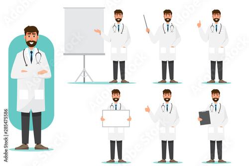 Cuadros en Lienzo Set of doctor cartoon characters
