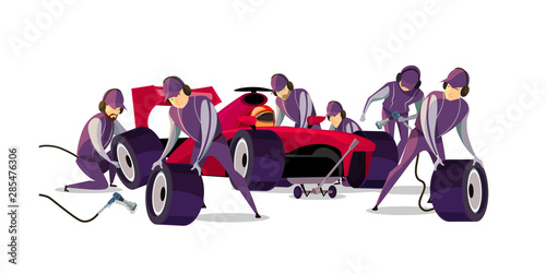 Racing car on pit stop flat vector illustration