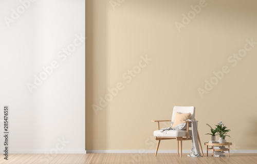 Empty wall mock up in Scandinavian style interior with wooden armchair Billede på lærred