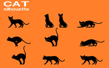 Set Of Silhouette Cat On Transparent Background