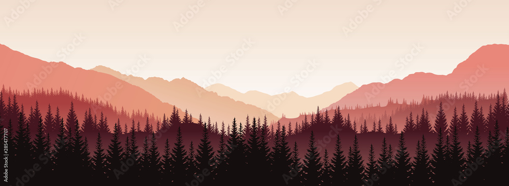 Fototapeta Vector panoramic landscape with red silhouettes of trees and hills