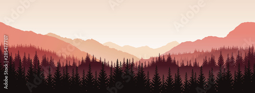Fototapeta Vector panoramic landscape with red silhouettes of trees and hills obraz