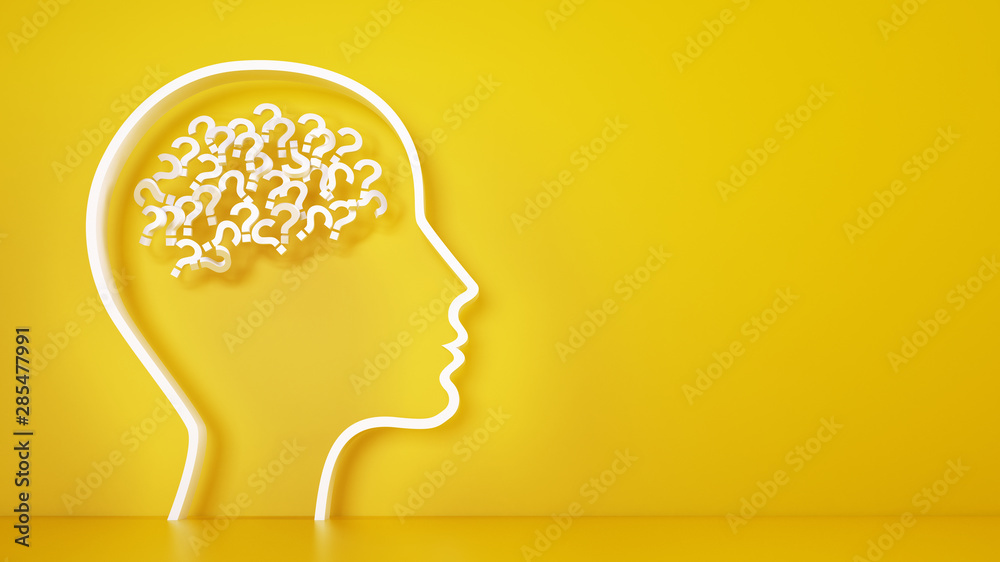 Fototapeta Big head with question marks inside brain on a yellow background. 3D Rendering