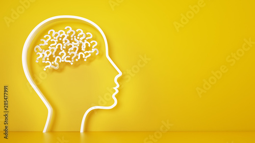 Fotografiet  Big head with question marks inside brain on a yellow background