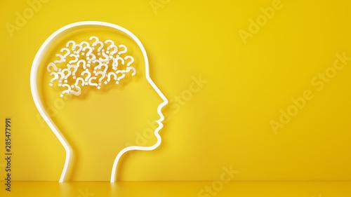 Cuadros en Lienzo Big head with question marks inside brain on a yellow background