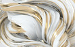 canvas print picture - White and golden dynamic abstract twisted shape. 3d render vawe, spiral. Computer generated geometric illustration