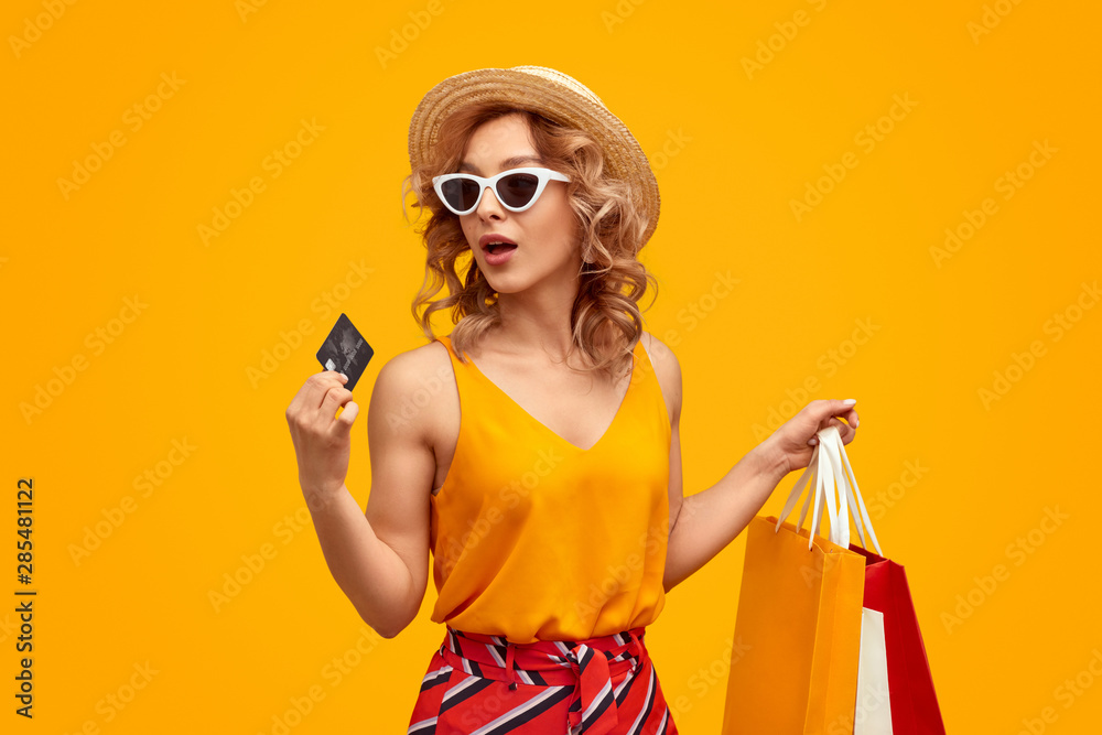 Fototapeta Woman with credit card during shopping