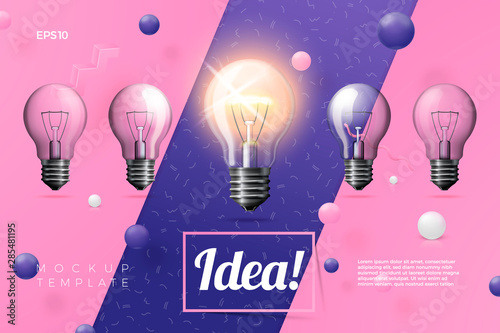 Photo  Vector 3d realistic light bulbs idea banner on abstract scene with place for text