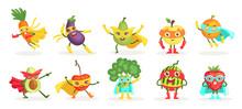 Vegetables Superheroes Flat Ve...