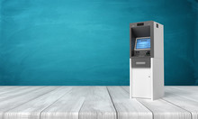 3d Rendering Of ATM Machine On White Wooden Floor And Dark Turquoise Background