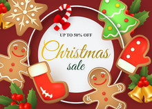 Christmas Sale Lettering In Frame With Gingerbread Cookies. Christmas Sale Advertising Design. Handwritten And Typed Text, Calligraphy. For Leaflets, Brochures, Invitations, Posters Or Banners.