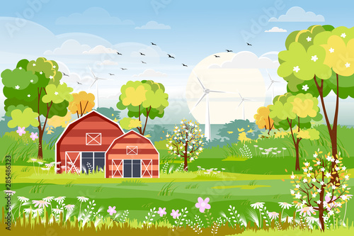 Landscapes of Countryside in early spring, Rural illustration of spring time with farm field, winddmill pumpkins, wild flowers and barn in green foliage. Summer holiday season banner