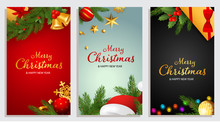 Set Of Merry Christmas And Happy New Year Design With Fir Branches, Santa Claus Hat And Jingle Bells On Background Of Different Colors. Letterings Can Be Used For Posters, Leaflets, Announcements