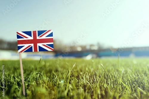 Obraz na plátně  Miniature stick United Kingdom flag on green grass, close up sunny field
