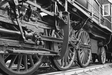 Train Close Up. Wheels Of The Train. The Old Train. Black And White Photo
