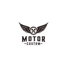Pistons Gear And Wings Club Motorcycle Logo Design