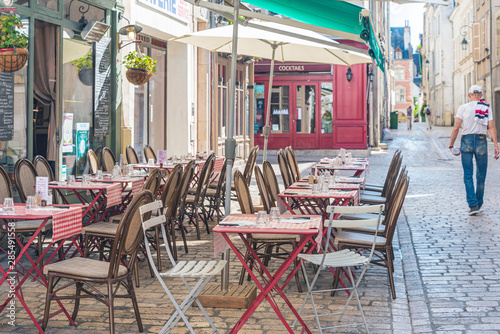 Photo sur Toile Drawn Street cafe ORLEANS, FRANCE - May 8, 2018: Restaurants in Orleans, France