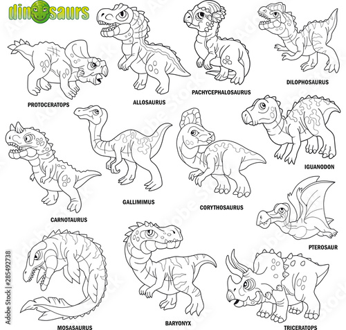 cartoon cute prehistoric dinosaurs, coloring book, image set Wallpaper Mural