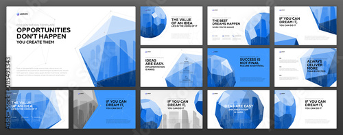 Fototapeta Business powerpoint presentation templates set. Use for modern keynote presentation background, brochure design, website slider, landing page, annual report, company profile, facebook banner. obraz