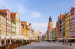 canvas print picture - Wroclaw, capital of Lower Silesia. Historic town square at down