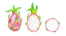 Dragon Fruit, Cut Pitaya Or Pi...