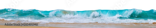 Powerful ocean waves with white foam isolated on a white background. Wide format.