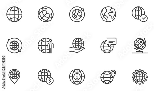 Globe vector line icons set. World map, global business, international communication. Editable stroke. 48x48 Pixel Perfect.