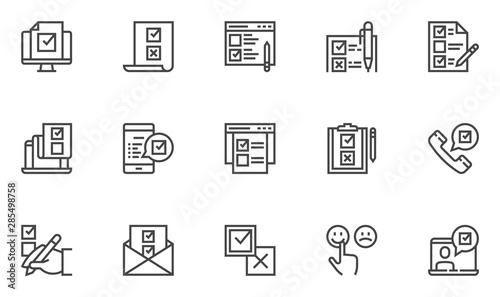 Fotografía Survey vector line icons set