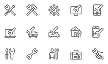 Repair Vector Line Icons Set. Screwdriver, Engineer, Toolbox, Toolkit. 48x48 Pixel Perfect.
