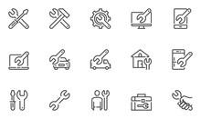 Repair Vector Line Icons Set. Screwdriver, Engineer, Toolbox, Toolkit. 48x48 Pixel Perfect.