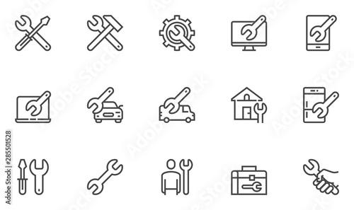 Canvastavla Repair vector line icons set